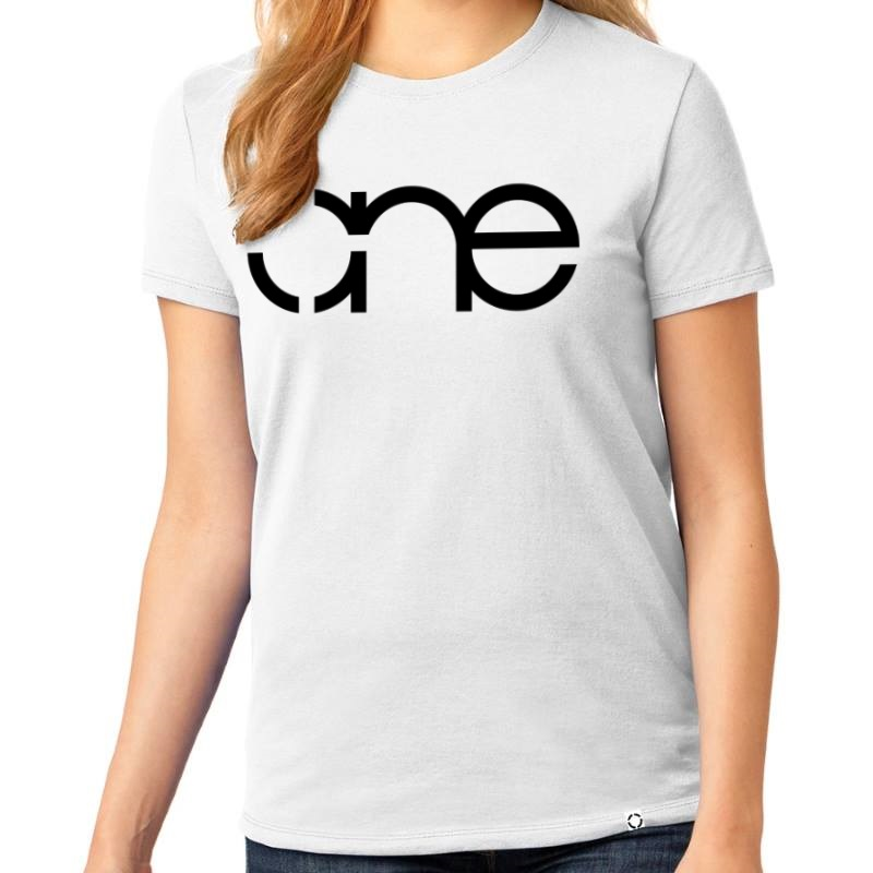 "Ladies White short sleeve ""One"" Christian Tee Shirt in Black."