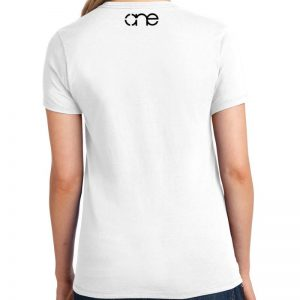 Ladies White short sleeve shirt with Black one on upper back.