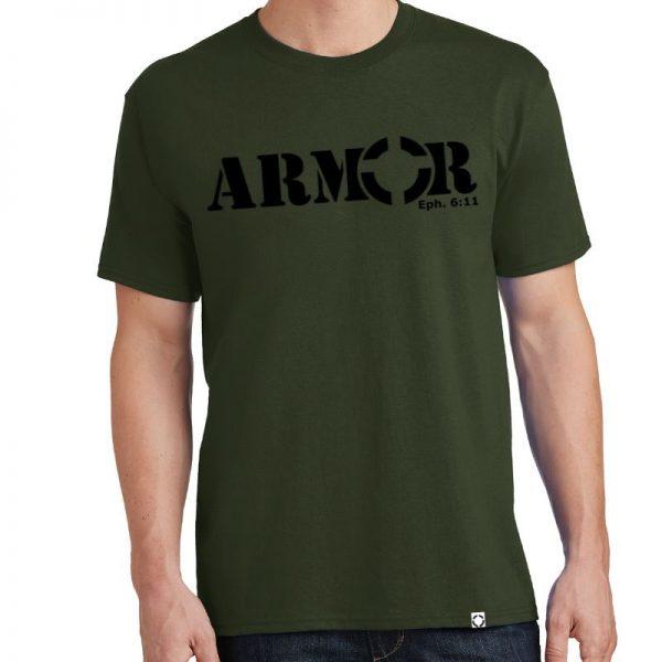 Men's Olive Green Armor Short Sleeve Tee Shirt in Black.