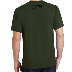 Men's Olive Green Armor Christian Tee Shirt in Black, Back.