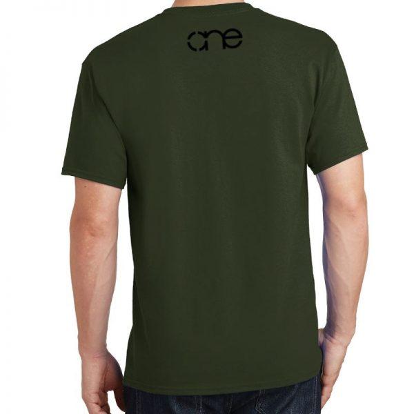 Men's Olive Green Armor Christian Tee Shirt in Black, Back.