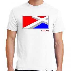 Men's White He Laid Down His Life Christian Tee Shirt in Red, White, Blue and Gray.