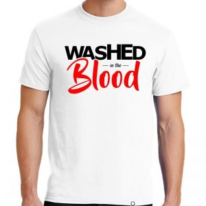 """Men's White short sleeve Washed in the Blood"""" One Christian Tee Shirt in Black and Red."""