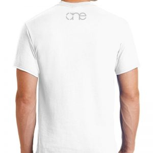 Men's White Short Sleeve Shirt with One on Upper Back in Grey.