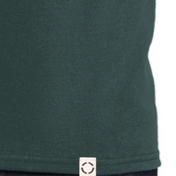 Dark Green One shirt with woven label close up.