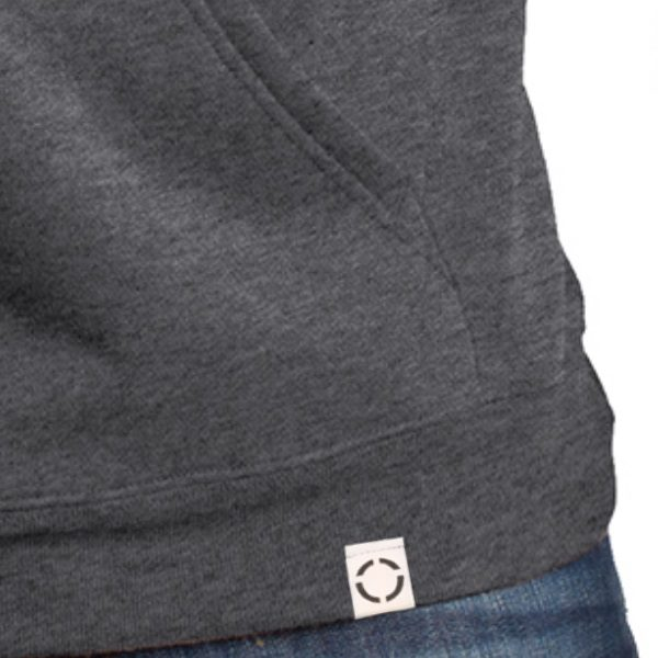 Heather Charcoal hoodie with woven label, close up view.