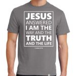 "Men's Medium Grey short sleeve ""Jesus Answered"" Christian Tee Shirt in White."