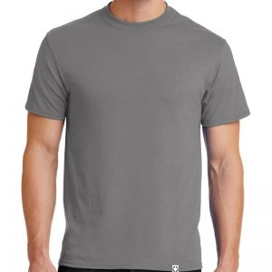"Men's Medium Grey short sleeve ""One"" Woven Label Christian Tee Shirt in White."