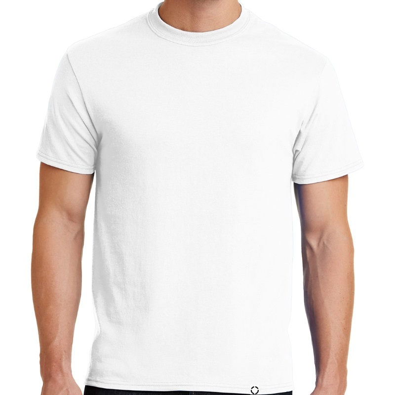 "Men's White short sleeve ""One"" Woven Label Christian Tee Shirt in White."
