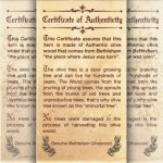 Certificate of Authenticity for Olive Wood
