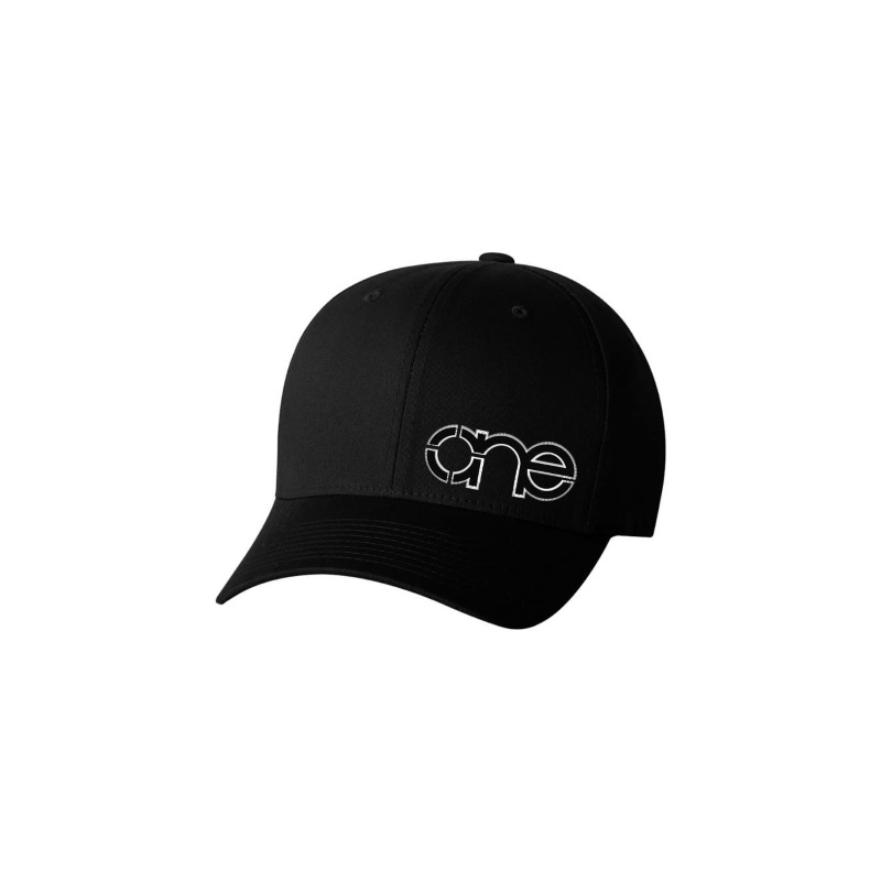 Black Flexfit Cap with Black One logo with White outline.