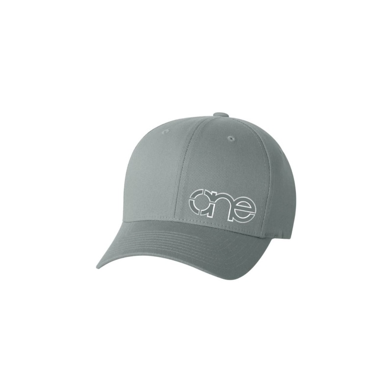 Medium Grey Flexfit Cap with Grey One logo with White outline.
