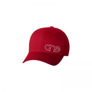 Red Flexfit Cap with Red One logo with White outline.