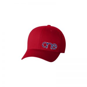 Red Flexfit Cap with Royal Blue One logo with White outline.