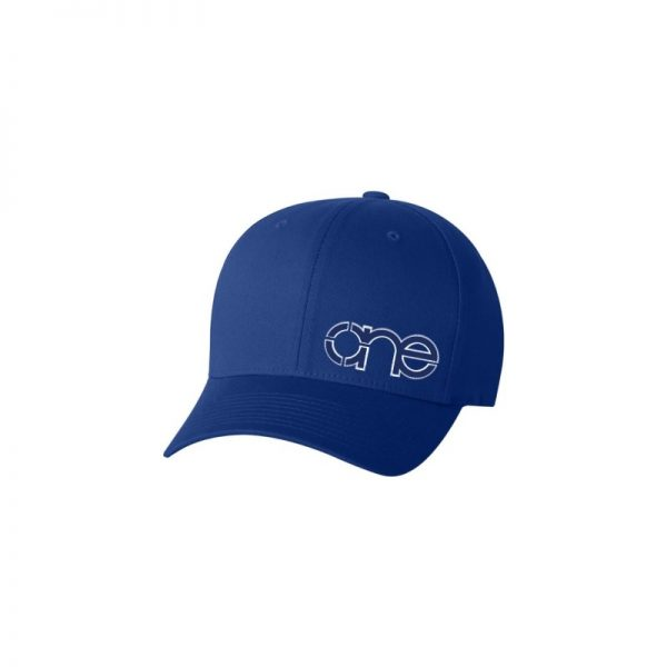 Royal Blue Flexfit Cap with Royal Blue One logo with White outline.