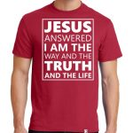 "Men's Red short sleeve ""Jesus Answered"" Christian Tee Shirt in White."