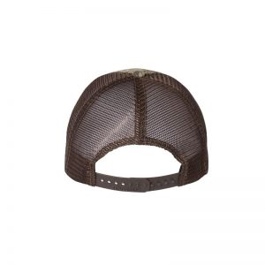 "RealTree Max-1 and Brown ""One"" Trucker Hat with Brown logo, snapback, rear of cap."