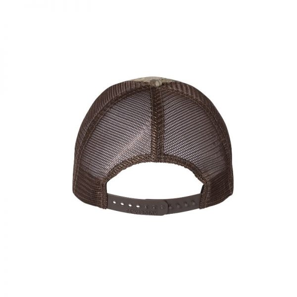 """RealTree Max-1 and Brown """"One"""" Trucker Hat with Brown logo, snapback, rear of cap."""