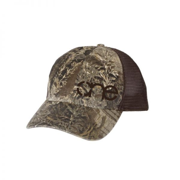 """RealTree Max-1 and Brown """"One"""" Trucker Hat with Brown logo, snapback."""