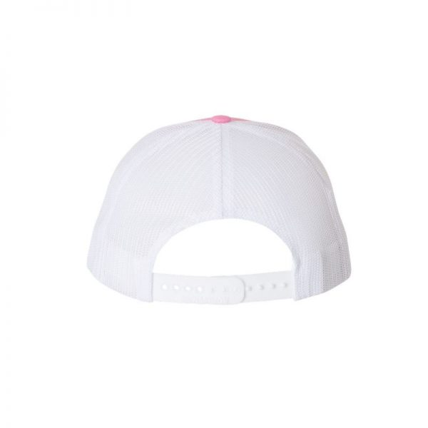 "Pink and White ""One"" Trucker Hat with White logo, snapback, rear of cap."