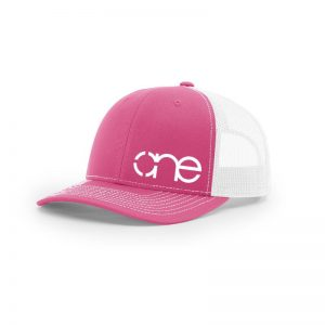 "Pink and White ""One"" Trucker Hat with White logo, snapback."