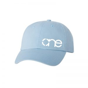 "Baby Blue ""One"" Dad Cap with White logo, adjustable with belt and buckle closure."