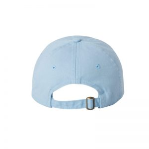 "Baby Blue ""One"" Dad Cap with White logo, adjustable with belt and buckle closure. Rear of cap."