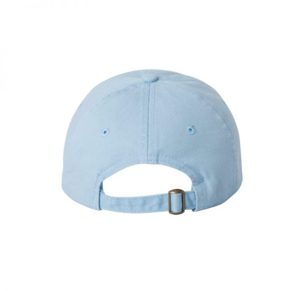 """Baby Blue """"One"""" Dad Cap with White logo, adjustable with belt and buckle closure. Rear of cap."""