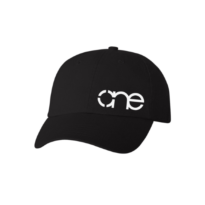 "Black ""One"" Dad Cap with White logo, adjustable with belt and buckle closure."