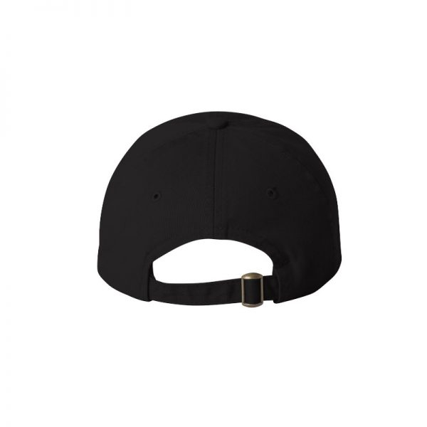 "Black ""One"" Dad Cap with White logo, adjustable with belt and buckle closure. Rear of cap."