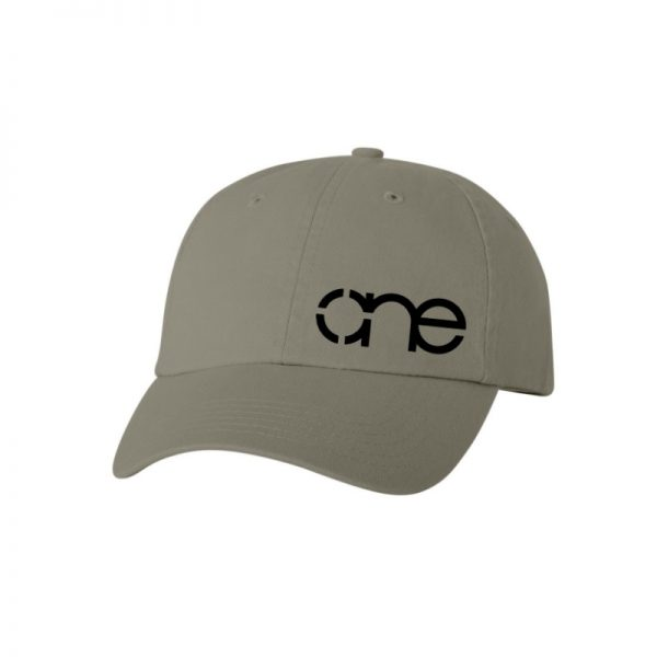 """Olive Green """"One"""" Dad Cap with Black logo, adjustable with belt and buckle closure."""