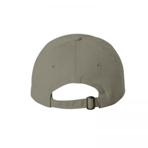 "Olive Green ""One"" Dad Cap with Black logo, adjustable with belt and buckle closure. Rear of cap."