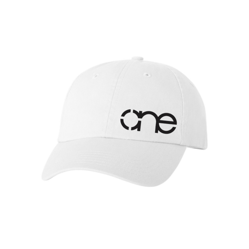 "White ""One"" Dad Cap with Black logo, adjustable with belt and buckle closure."