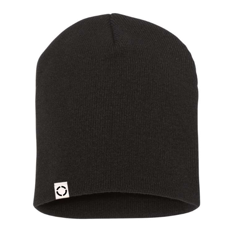 Black Beanie with Woven Label