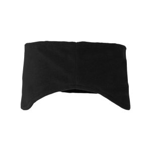 One Black Woven Label Polar Fleece Headband, back view.