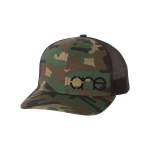 "Camo and Black ""One"" Trucker Hat with White logo, snapback."