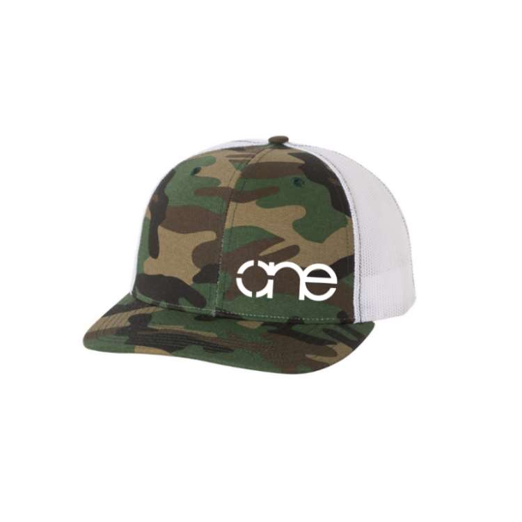 "Camo and White ""One"" Trucker Hat with White logo, snapback."