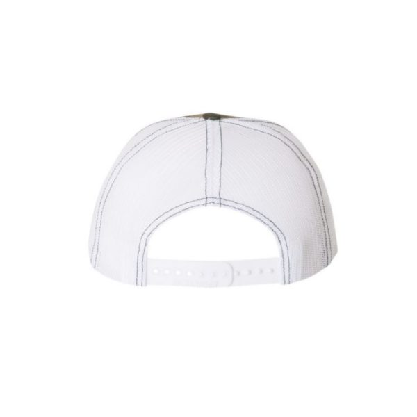 "Camo and White ""One"" Trucker Hat with White logo, snapback – backside of the hat."