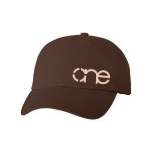 Brown Dad Cap with Cream One Logo.