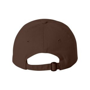 Brown Dad Cap with Cream One Logo, backside of the hat.