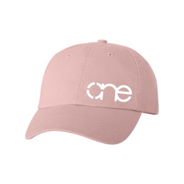 Pink Dad Cap with White One Logo.