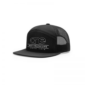 One Way Truth Life Hi-Pro 7 Panel Richardson Trucker Hats in Black.