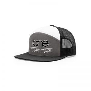 One Way Truth Life Hi-Pro 7 Panel Richardson Trucker Hats in Charcoal, White and Black.
