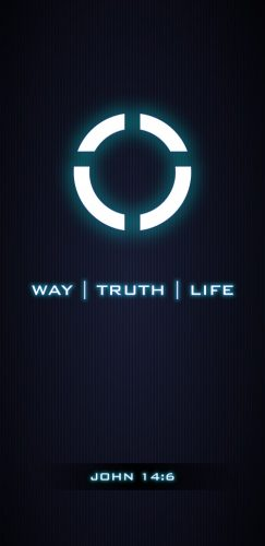 One Way Truth Life - Glowing with a dark background for mobile phones.