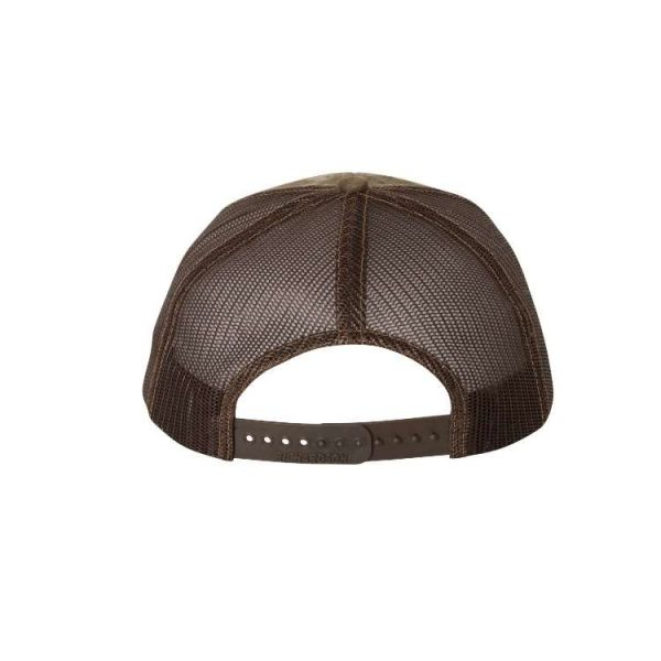 "RealTree Max-1 and Brown ""One"" Trucker Hat with Brown logo, backside showing snapback."