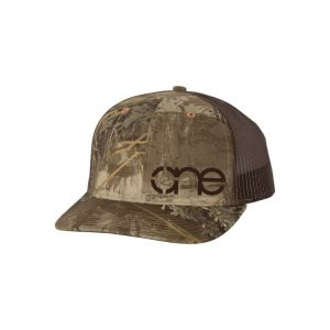 "RealTree Max-1 and Brown ""One"" Trucker Hat with Brown logo, snapback."