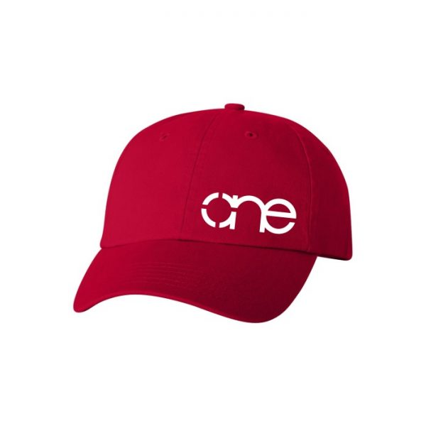 Red Dad Cap with White One Logo side view of the front.