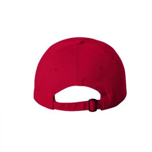 Red Dad Cap with White One Logo, backside of the hat.