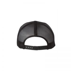 "Solid Black ""One"" Trucker Hat with Black logo, Yupoong Classics snapback, rear view."
