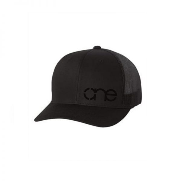 """Solid Black """"One"""" Trucker Hat with Black logo, Yupoong Classics snapback."""